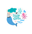 mermaid cartoon color vector image vector image