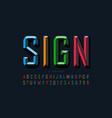 modern chiseled style font design alphabet vector image