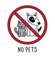 no pets symbol sign doodle hand drawing vector image