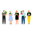 people with home plants vector image