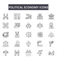 political economy line icons signs set vector image vector image