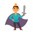 prince fairytale cartoon character brave medieval vector image vector image
