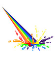 rainbow and colorful splash with drops vector image