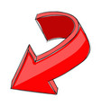 red arrow down colored hand drawn sign vector image