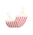 red white striped textile summer home hammock vector image vector image