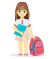 schoolgirl with backpack and textbook vector image vector image
