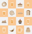 Set of bakery and orange juice elements for drinks vector image
