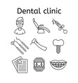 set of dental clinic in modern thin line style vector image