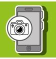 smartphone blue camera isolated icon design vector image