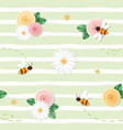 summer floral seamless pattern roses chamomiles vector image