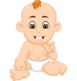 sweet baby cartoon sitting with smile and pointing vector image vector image
