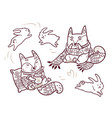 two cute baby foxes in cozy scarf and sweater in vector image vector image