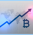 upward growth chart for bitcoin currency design vector image vector image