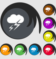 Weather icon sign Symbols on eight colored buttons vector image vector image