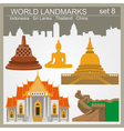 World landmarks icon set Elements for creating vector image vector image