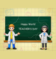 world teachers day with two college student vector image vector image