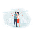 young loving couple in park with forest trees vector image