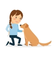 Happy woman with dog vector image