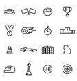 thin line icons - racing vector image