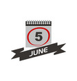 5 june calendar with ribbon vector image vector image