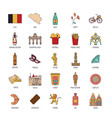 belgium icons set cartoon style vector image