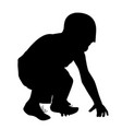 boy silhouette trying to stand up after fall down vector image