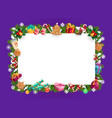 christmas tree gifts presents wreath xmas frame vector image vector image