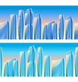 City skyscrapers seamless borders in blue colors vector image vector image