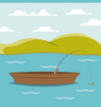 colorful background lake landscape and fishing vector image