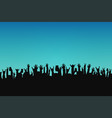 concert crowd people silhouettes hands vector image