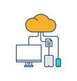 device cloud storage icon line outline monoline vector image