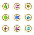 different simple star icons set cartoon style vector image