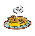 dog on rug sleeps isolated home pet dream vector image