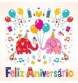 Feliz Aniversario Portuguese Happy Birthday cute vector image vector image