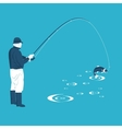 fisherman pulls the catch vector image