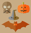 Flat scull pumkin hat and bat vector image vector image