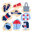 flat style icon set set colorful beach icons vector image