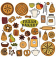 fresh bakery isolated objects colorful vector image