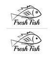 fresh fish logo symbol sign black colored set 4 vector image vector image