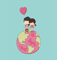 girl and boy with heart shaped balloon on globe vector image vector image