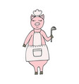 hand-drawn funny pig chef wearing an apron vector image
