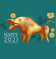happy chinese new year 2021 year metal vector image