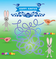 Happy Easter set Rabbit eggs bird labyrinth game vector image vector image