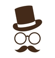 hat with glasses and mustache vector image