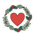 heart with wreath holly berry decoration vector image vector image
