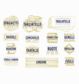 italian pasta labels set hand drawn food vector image