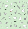 kitchen utensils seamless pattern on green vector image