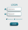 Login web screen with atypical buttons template vector image vector image