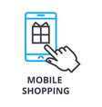 mobile shopping thin line icon sign symbol vector image vector image
