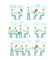 office team set blue gamma business people big set vector image vector image